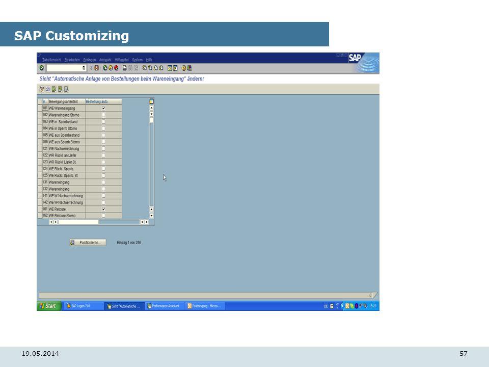 19.05.201457 SAP Customizing