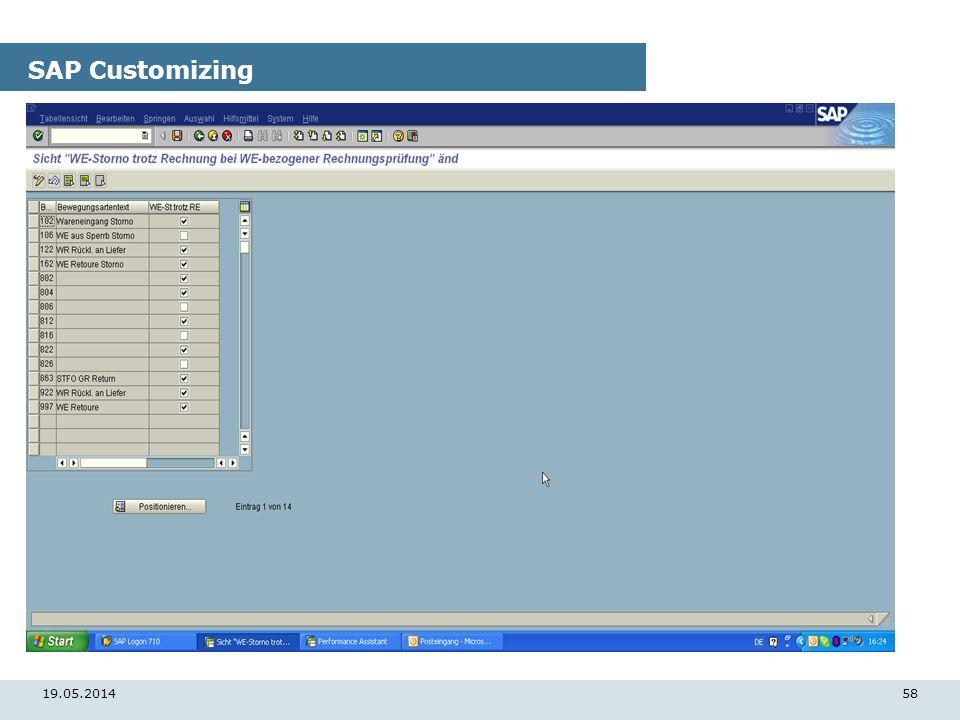 19.05.201458 SAP Customizing