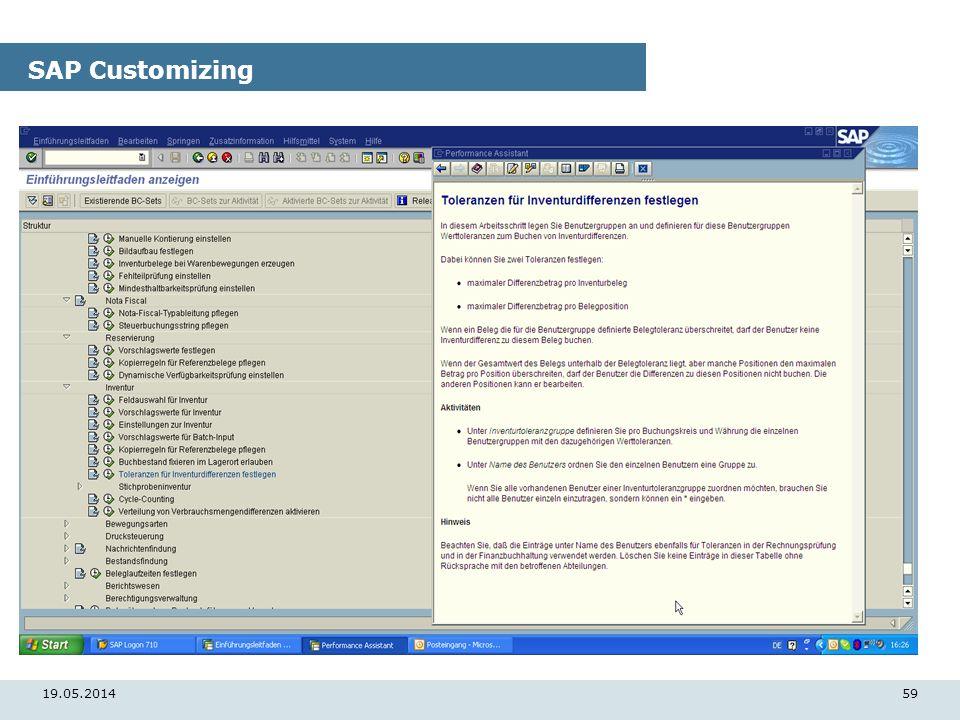 19.05.201459 SAP Customizing