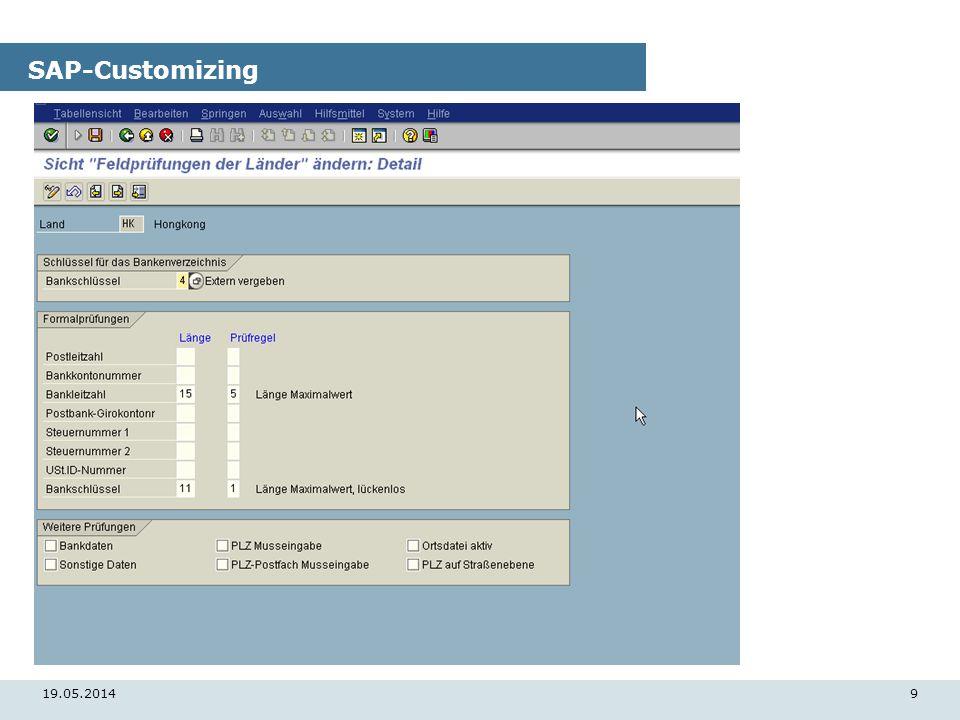 19.05.20149 SAP-Customizing