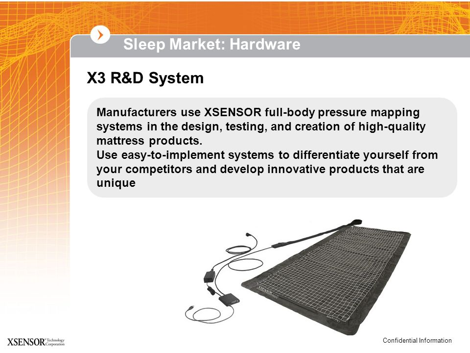 Confidential Information Sleep Market: Hardware X3 R&D System Manufacturers use XSENSOR full-body pressure mapping systems in the design, testing, and