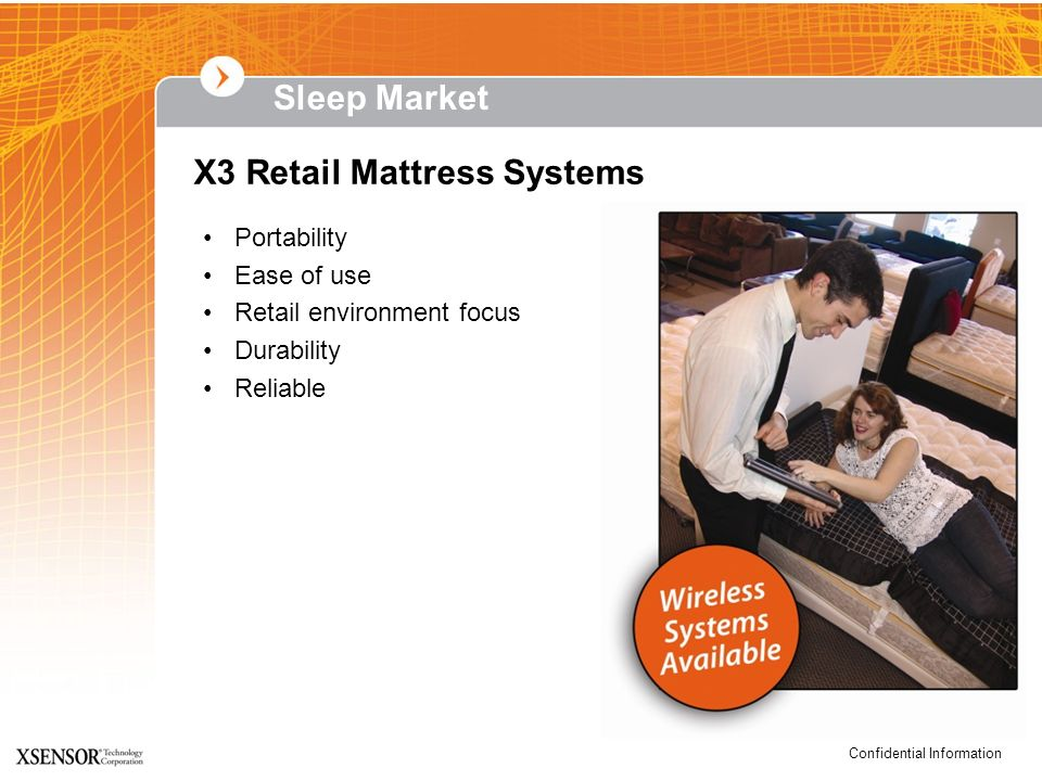 Confidential Information Sleep Market Portability Ease of use Retail environment focus Durability Reliable X3 Retail Mattress Systems