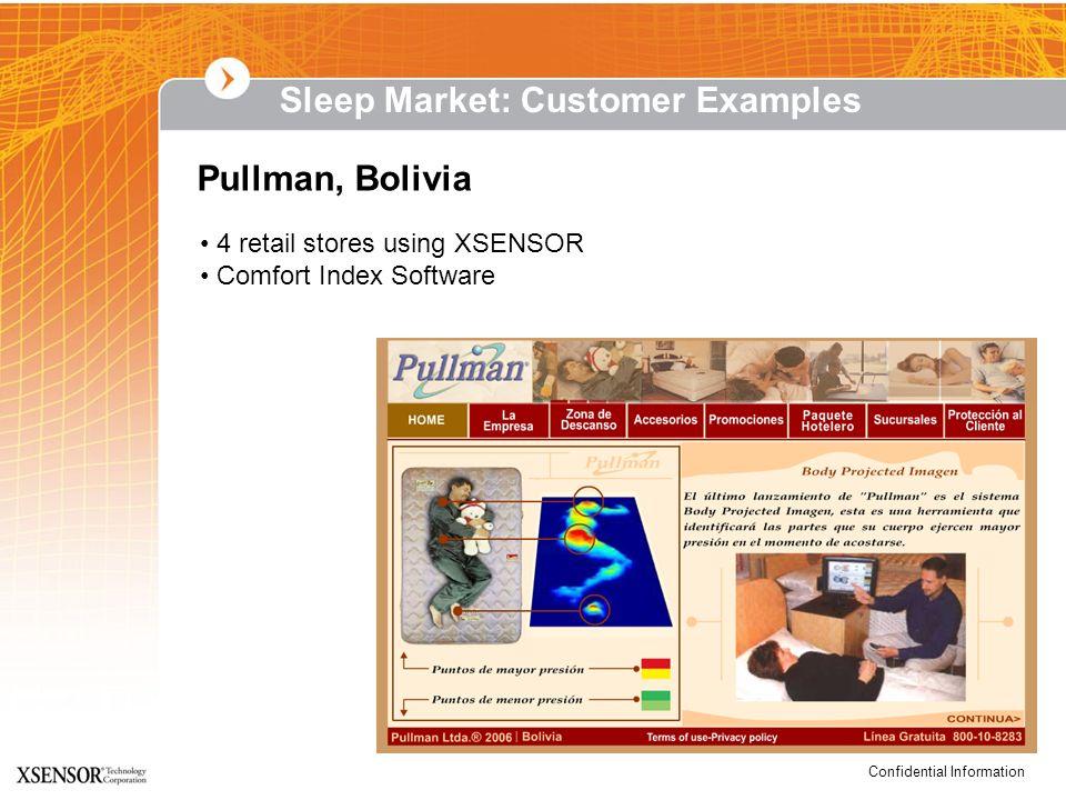 Confidential Information Pullman, Bolivia 4 retail stores using XSENSOR Comfort Index Software Sleep Market: Customer Examples
