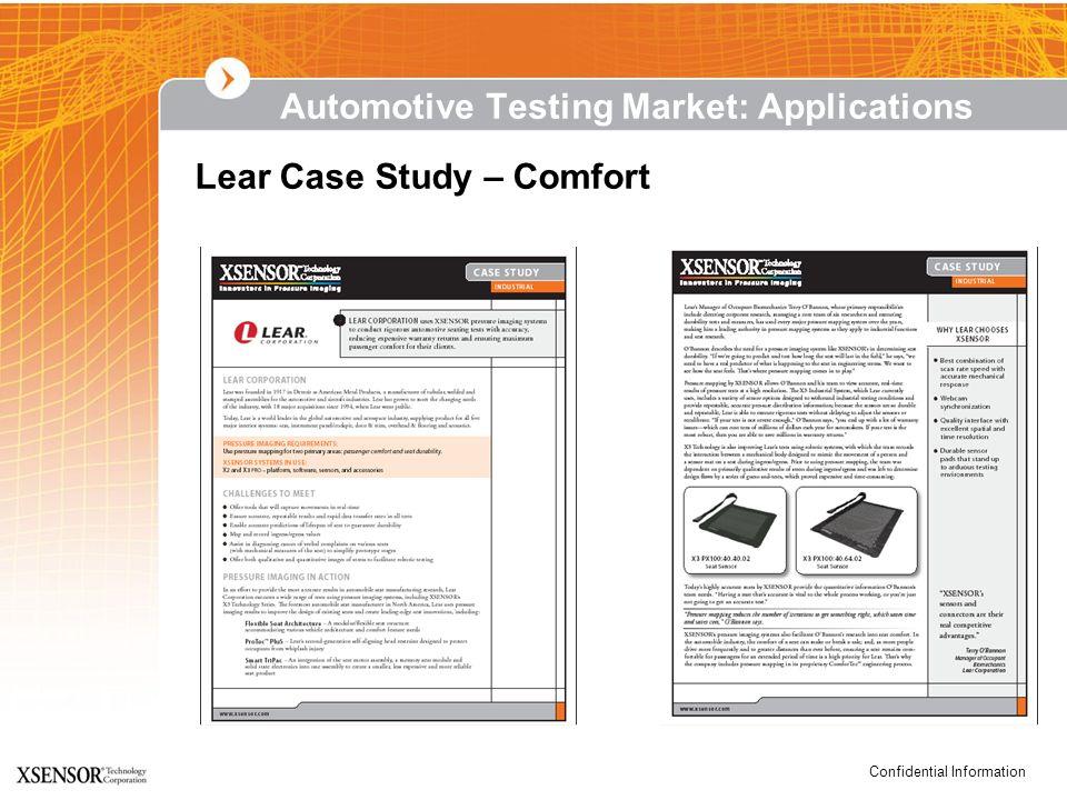 Confidential Information Lear Case Study – Comfort Automotive Testing Market: Applications