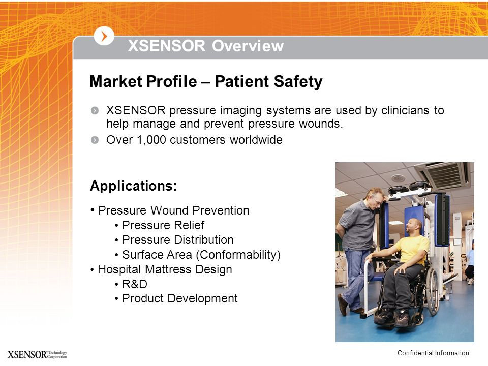 Confidential Information XSENSOR Overview XSENSOR pressure imaging systems are used by clinicians to help manage and prevent pressure wounds. Over 1,0