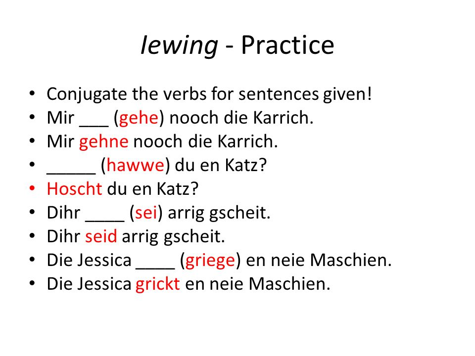 Iewing - Practice Conjugate the verbs for sentences given.