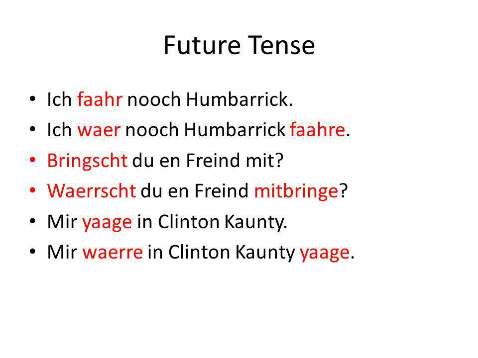Future Tense Ich faahr nooch Humbarrick. Ich waer nooch Humbarrick faahre.