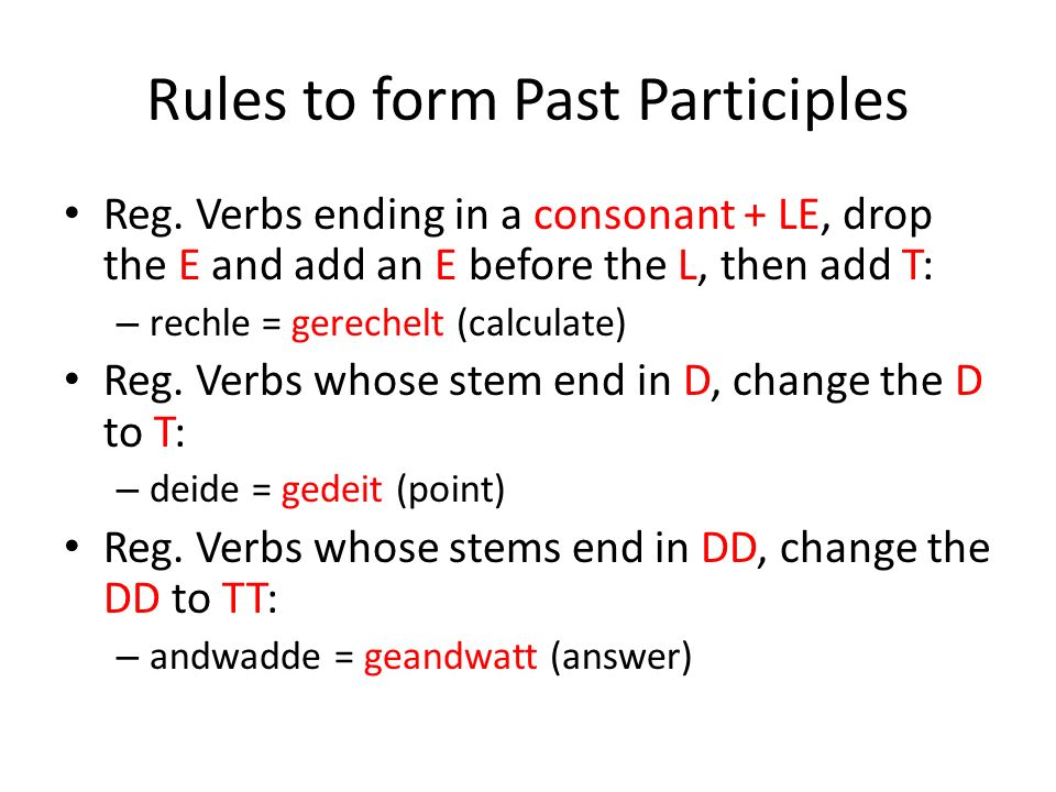 Rules to form Past Participles Reg.
