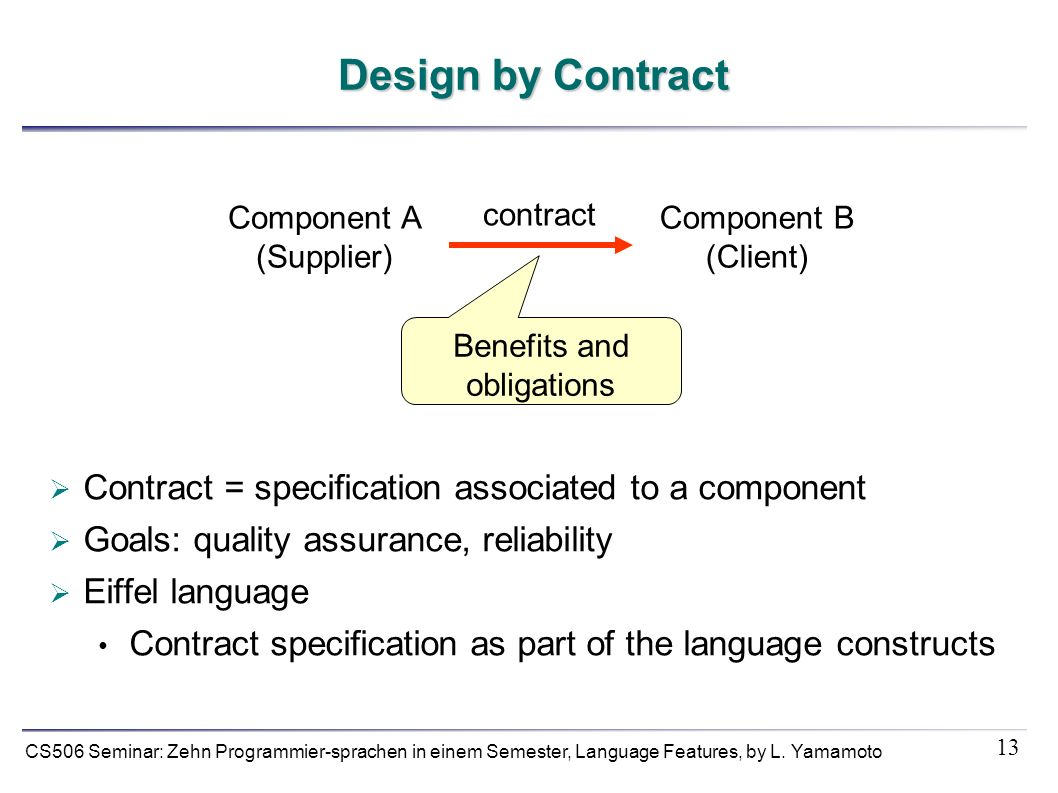 13 CS506 Seminar: Zehn Programmier-sprachen in einem Semester, Language Features, by L. Yamamoto Design by Contract Contract = specification associate