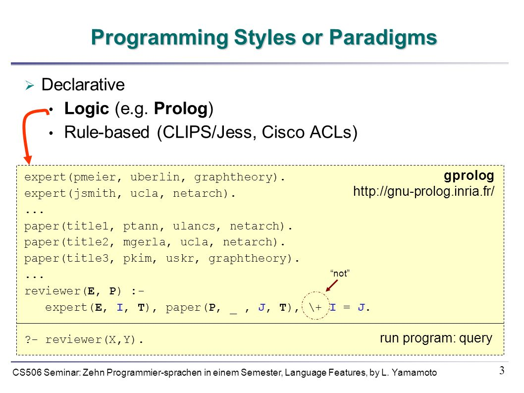 3 CS506 Seminar: Zehn Programmier-sprachen in einem Semester, Language Features, by L. Yamamoto Programming Styles or Paradigms Declarative Logic (e.g