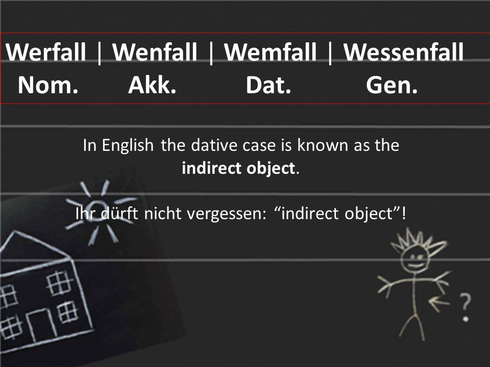 In English the dative case is known as the indirect object.