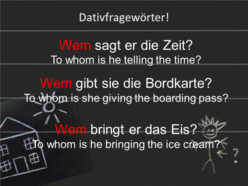 Dativfragewörter. Wem sagt er die Zeit. To whom is he telling the time.