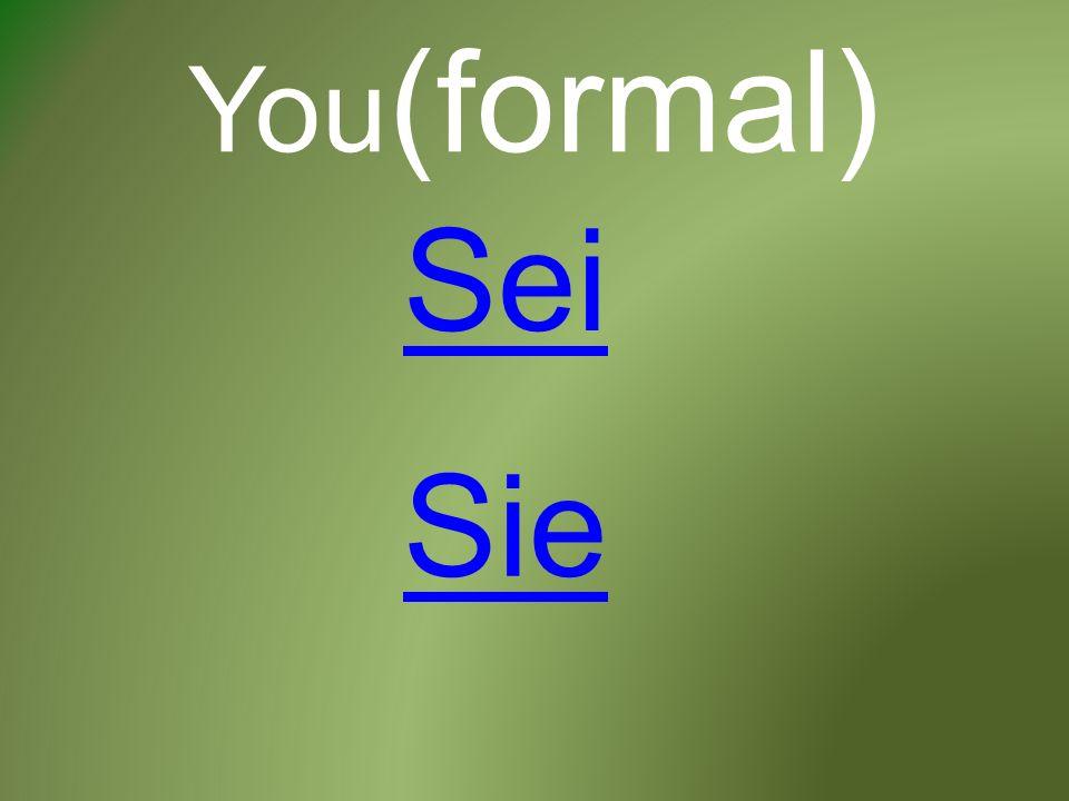 You (formal) Sei Sie