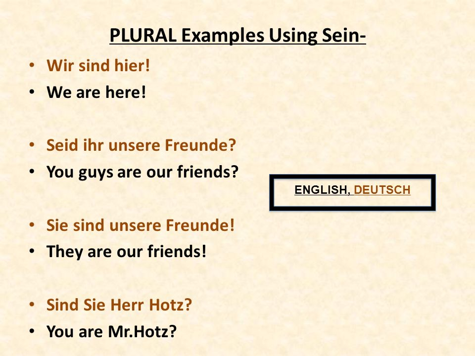 PLURAL Examples Using Sein- Wir sind hier! We are here! Seid ihr unsere Freunde? You guys are our friends? Sie sind unsere Freunde! They are our frien