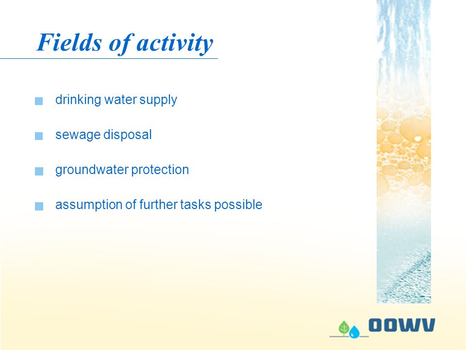 Fields of activity drinking water supply groundwater protection assumption of further tasks possible sewage disposal