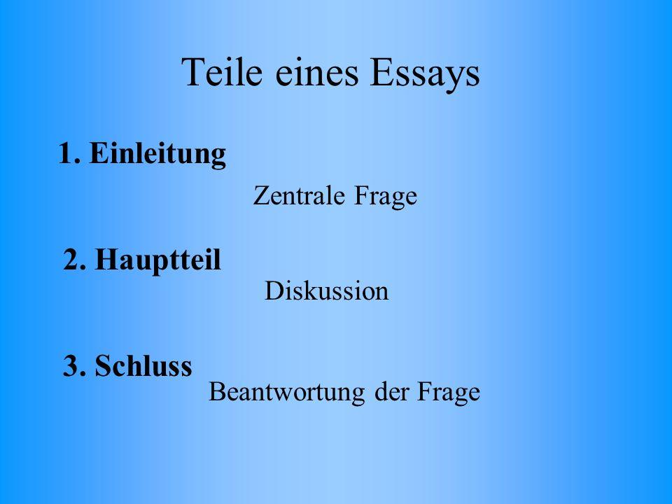Teile eines Essays 1. Einleitung 2. Hauptteil 3.