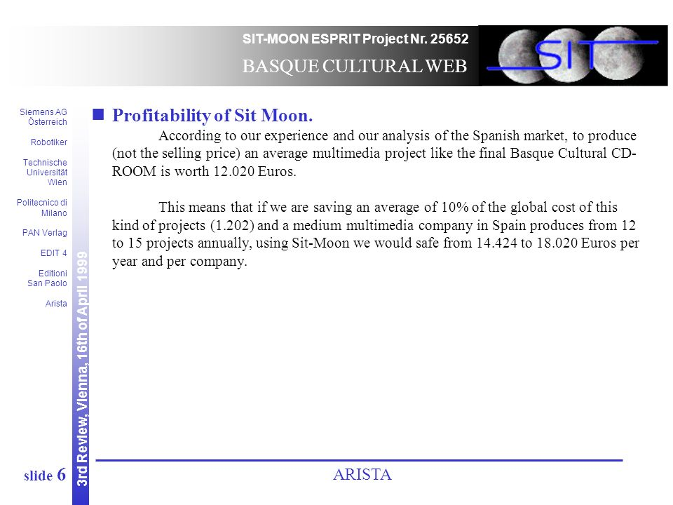 3rd Review, Vienna, 16th of April 1999 SIT-MOON ESPRIT Project Nr.