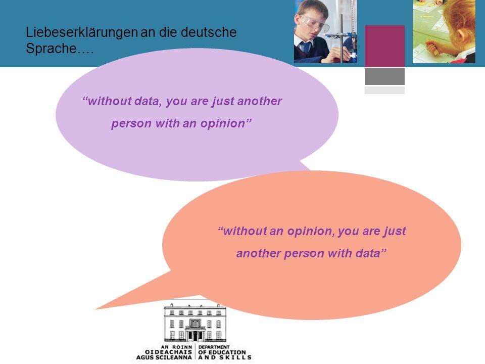 without data, you are just another person with an opinion without an opinion, you are just another person with data Liebeserklärungen an die deutsche