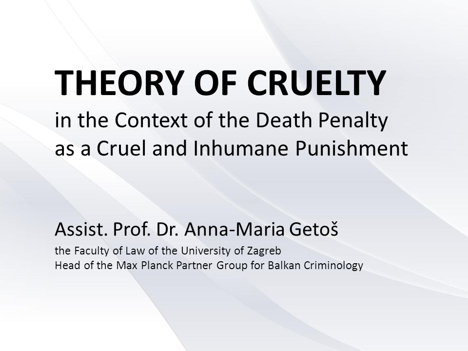 THEORY OF CRUELTY in the Context of the Death Penalty as a Cruel and Inhumane Punishment Assist.