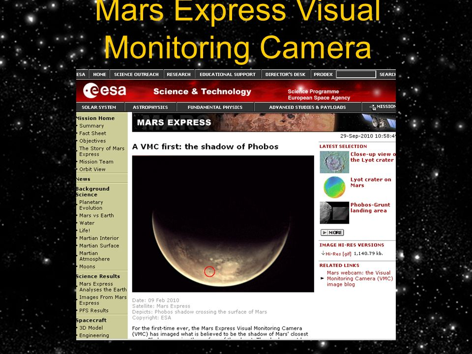 Mars Express Visual Monitoring Camera