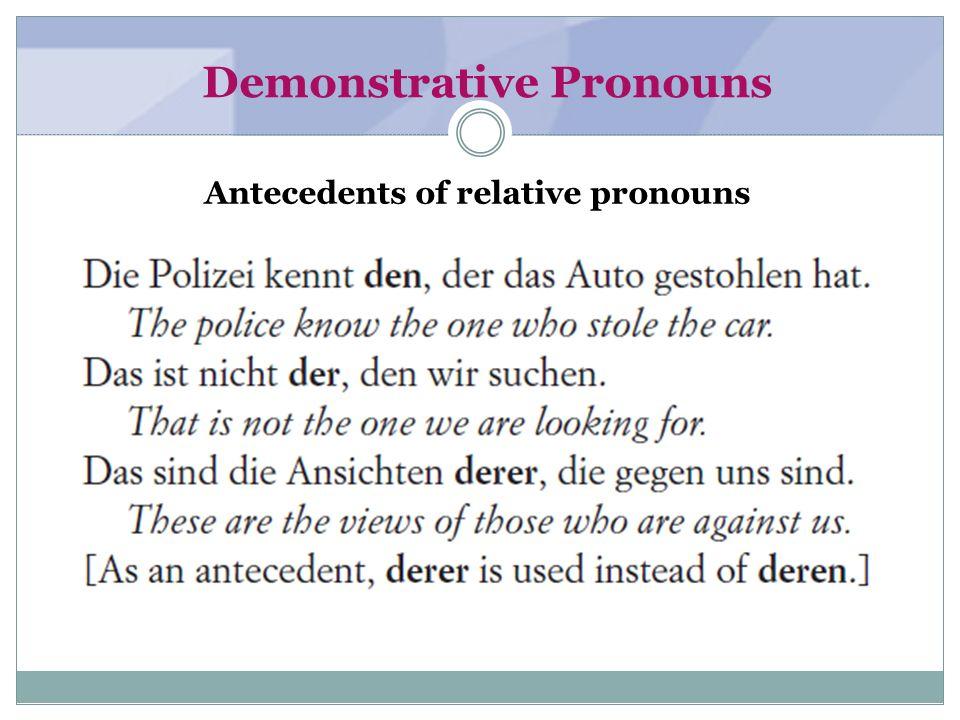 Demonstrative Pronouns Preceding genitives in a series