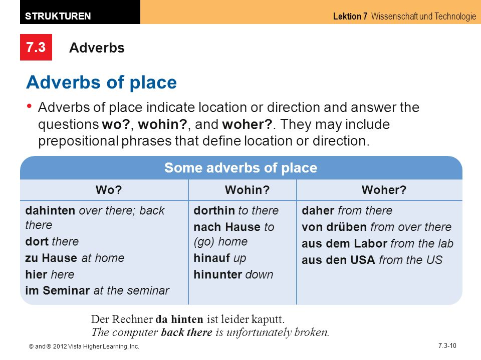 7.3 Lektion 7 Wissenschaft und Technologie STRUKTUREN © and ® 2012 Vista Higher Learning, Inc. 7.3-10 Adverbs Adverbs of place Adverbs of place indica