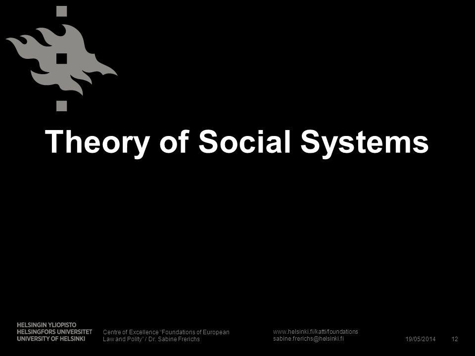 www.helsinki.fi/katti/foundations sabine.frerichs@helsinki.fi Theory of Social Systems 19/05/201412 Centre of Excellence Foundations of European Law a