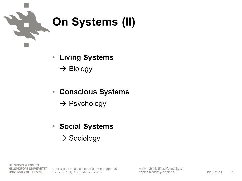 www.helsinki.fi/katti/foundations sabine.frerichs@helsinki.fi On Systems (II) Living Systems Biology Conscious Systems Psychology Social Systems Socio