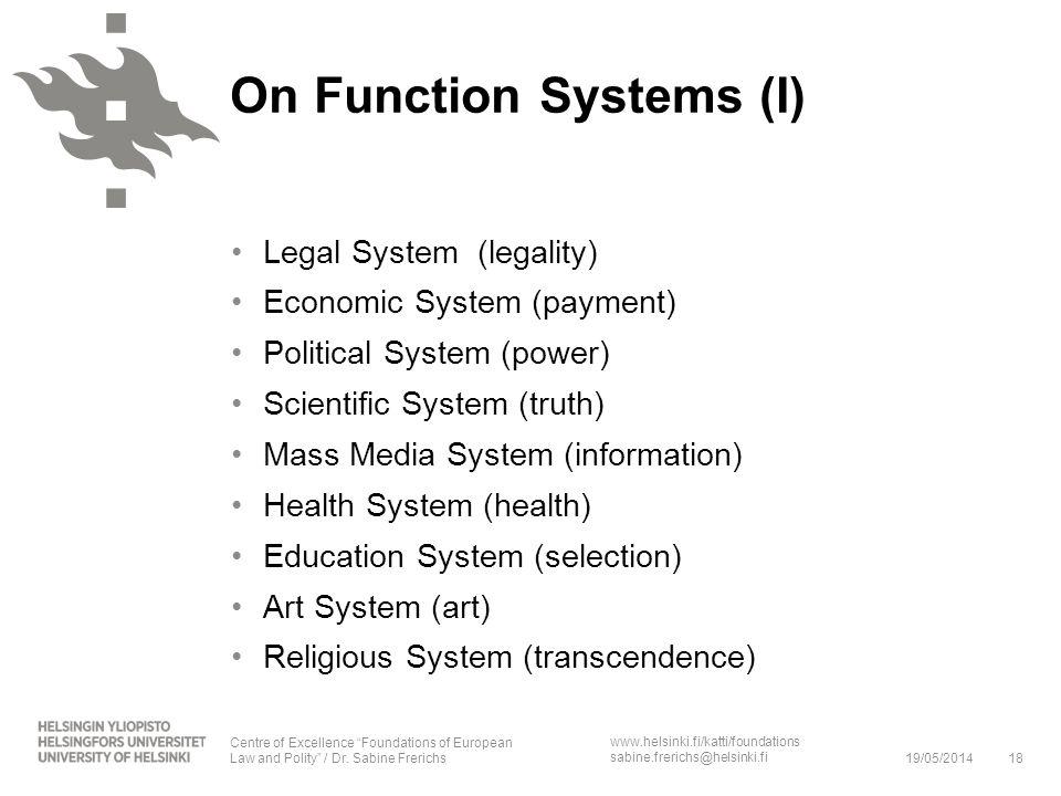 www.helsinki.fi/katti/foundations sabine.frerichs@helsinki.fi On Function Systems (I) Legal System (legality) Economic System (payment) Political Syst