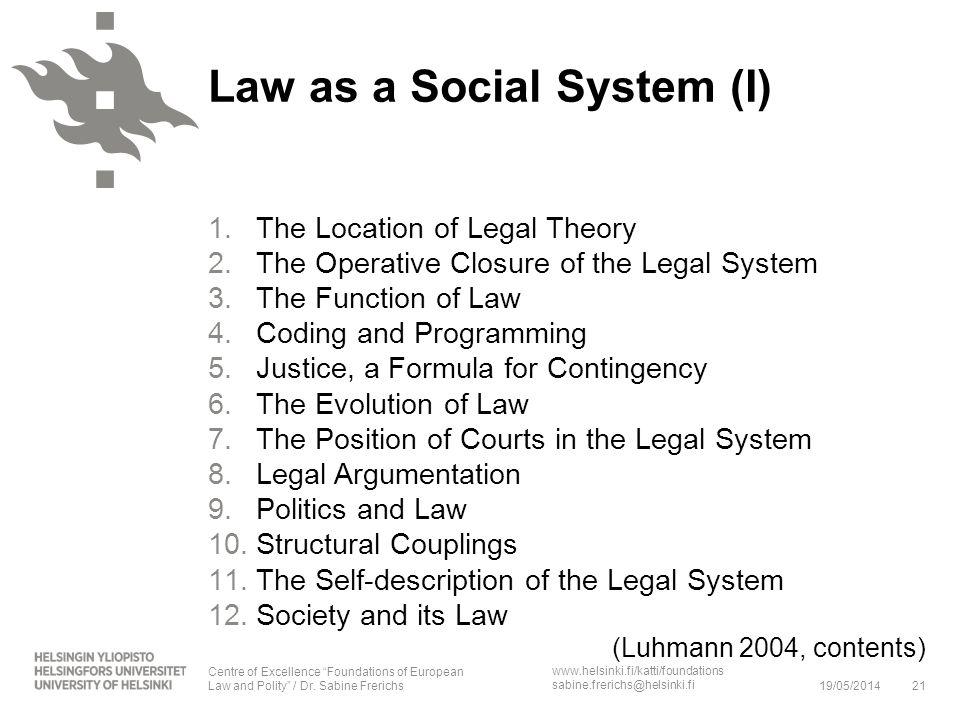 www.helsinki.fi/katti/foundations sabine.frerichs@helsinki.fi 1.The Location of Legal Theory 2.The Operative Closure of the Legal System 3.The Functio