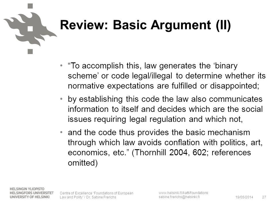www.helsinki.fi/katti/foundations sabine.frerichs@helsinki.fi To accomplish this, law generates the binary scheme or code legal/illegal to determine w