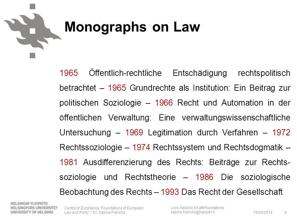 www.helsinki.fi/katti/foundations sabine.frerichs@helsinki.fi Monographs on Law 1965 Öffentlich-rechtliche Entschädigung rechtspolitisch betrachtet –
