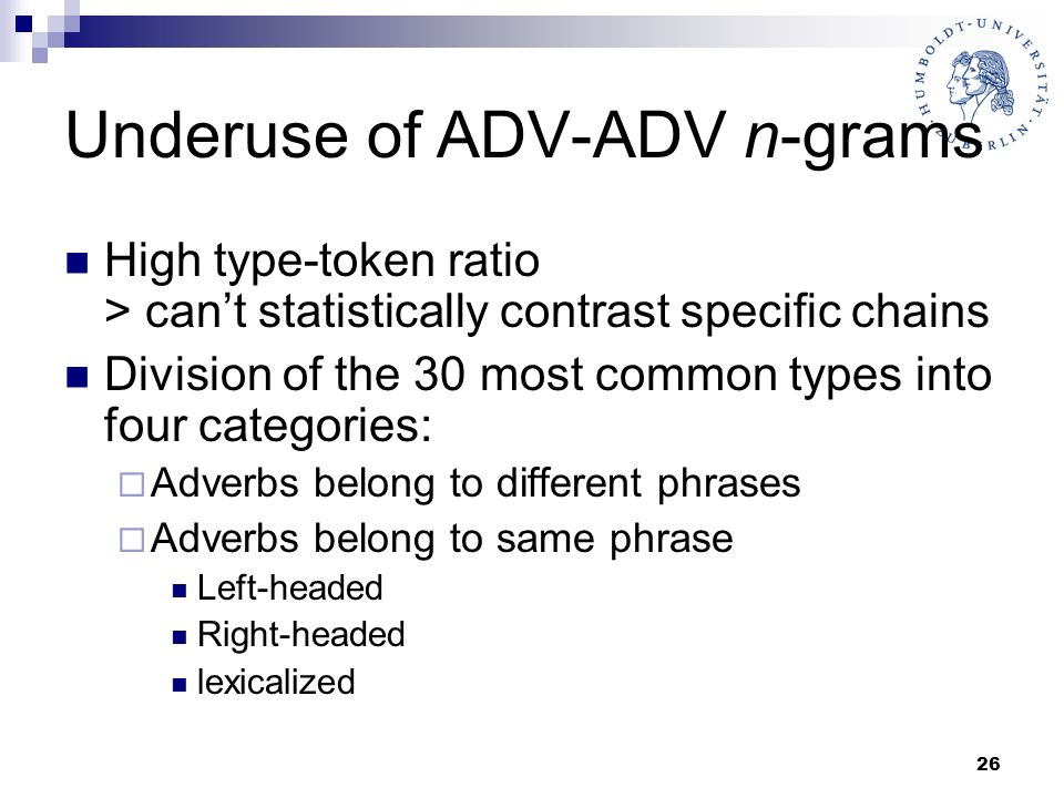 26 Underuse of ADV-ADV n-grams High type-token ratio > cant statistically contrast specific chains Division of the 30 most common types into four cate