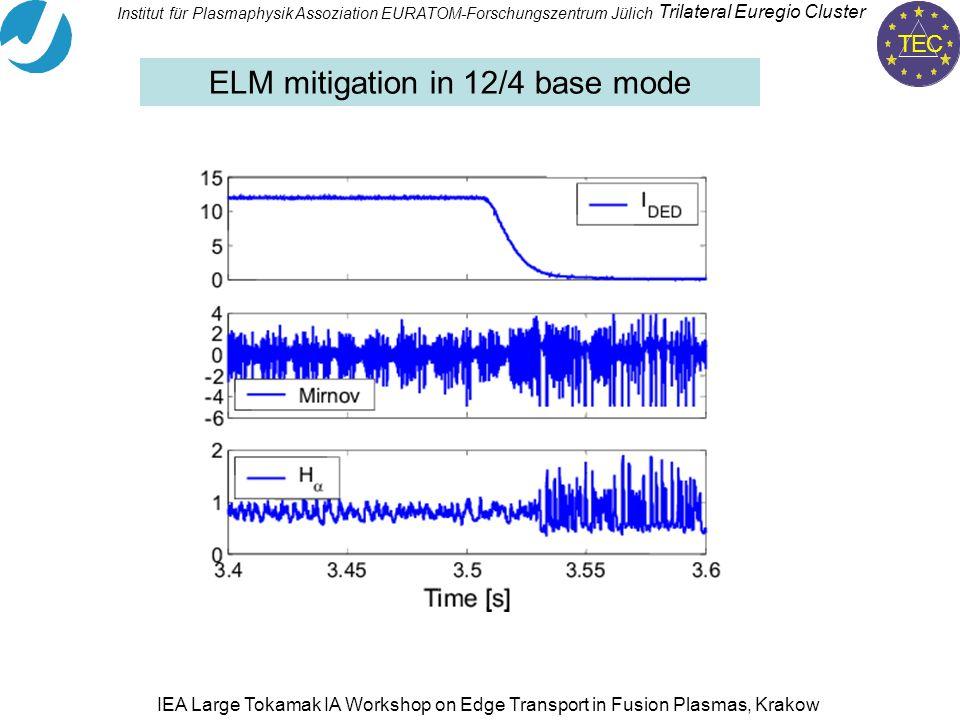 TEC Trilateral Euregio Cluster Institut für PlasmaphysikAssoziation EURATOM-Forschungszentrum Jülich IEA Large Tokamak IA Workshop on Edge Transport in Fusion Plasmas, Krakow ELM mitigation in 12/4 base mode