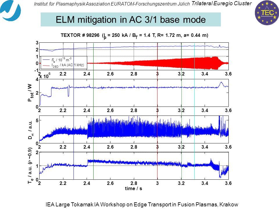 TEC Trilateral Euregio Cluster Institut für PlasmaphysikAssoziation EURATOM-Forschungszentrum Jülich IEA Large Tokamak IA Workshop on Edge Transport in Fusion Plasmas, Krakow ELM mitigation in AC 3/1 base mode