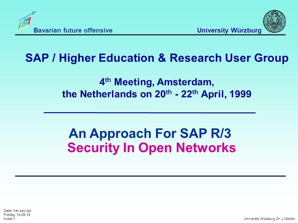 Datei: her-sec.ppt Freitag, 14-05-19 Index 1 University Würzburg, Dr.