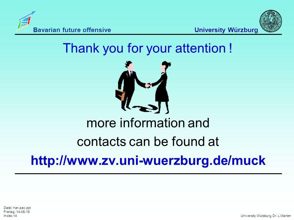 Datei: her-sec.ppt Freitag, 14-05-19 Index 14 University Würzburg, Dr.
