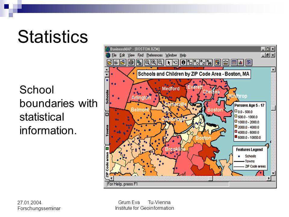 Grum Eva Tu-Vienna Institute for Geoinformation 27.01.2004 Forschungsseminar Statistics School boundaries with statistical information.