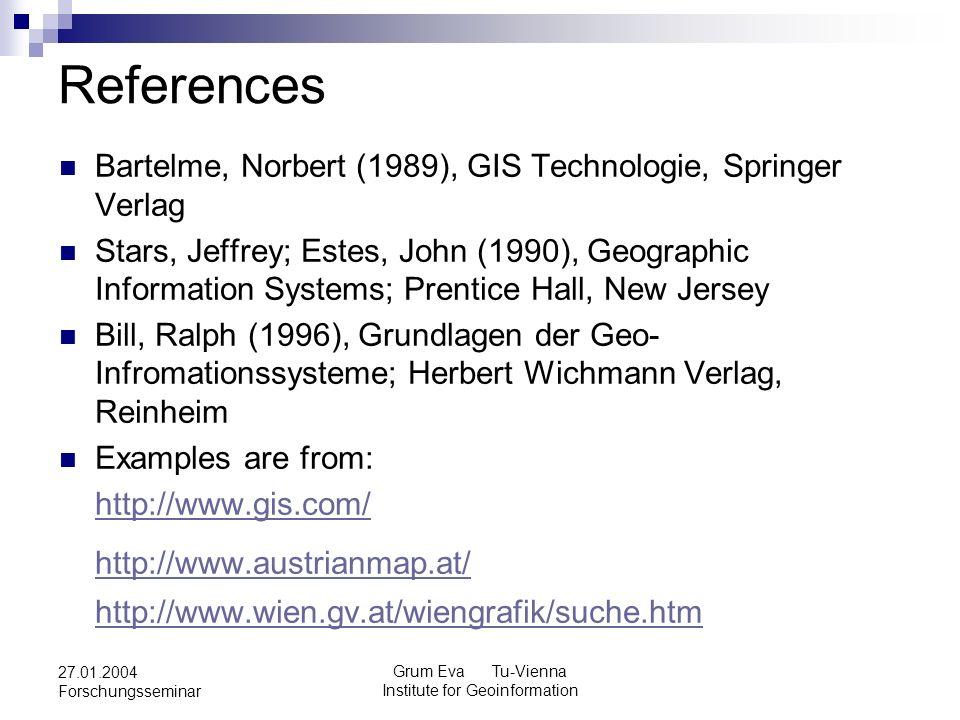 Grum Eva Tu-Vienna Institute for Geoinformation 27.01.2004 Forschungsseminar References Bartelme, Norbert (1989), GIS Technologie, Springer Verlag Stars, Jeffrey; Estes, John (1990), Geographic Information Systems; Prentice Hall, New Jersey Bill, Ralph (1996), Grundlagen der Geo- Infromationssysteme; Herbert Wichmann Verlag, Reinheim Examples are from: http://www.gis.com/ http://www.austrianmap.at/ http://www.wien.gv.at/wiengrafik/suche.htm