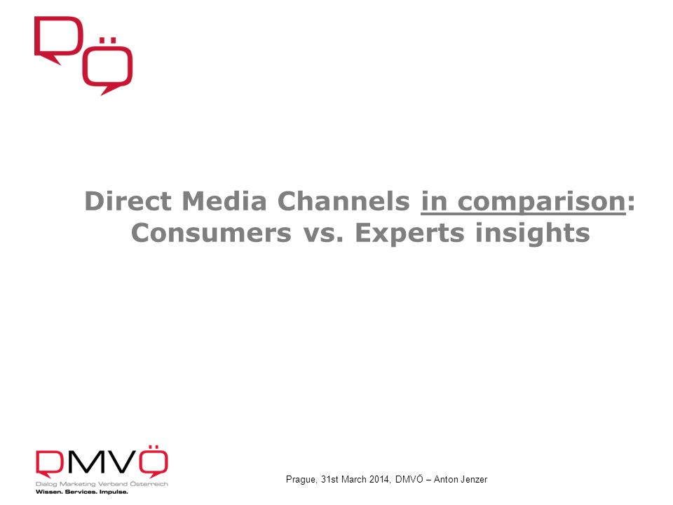 Prague, 31st March 2014, DMVÖ – Anton Jenzer Direct Media Channels in comparison: Consumers vs.