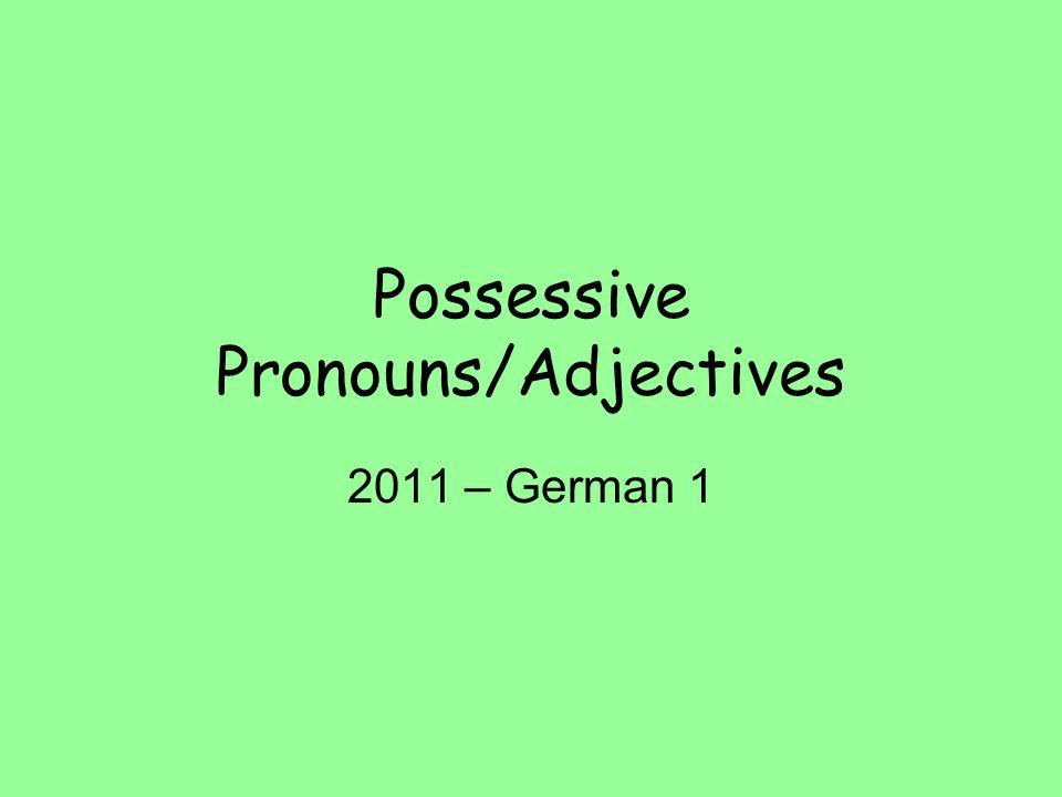 Possessive Pronouns/Adjectives 2011 – German 1