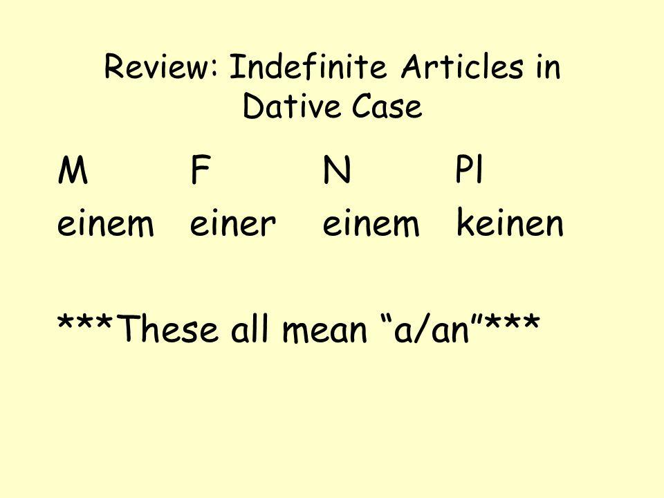 Review: Indefinite Articles in Dative Case MFNPl einemeinereinemkeinen ***These all mean a/an***