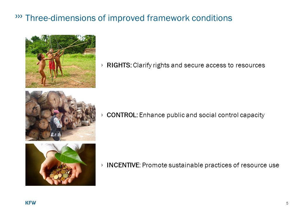 5 Three-dimensions of improved framework conditions RIGHTS: Clarify rights and secure access to resources CONTROL: Enhance public and social control capacity INCENTIVE: Promote sustainable practices of resource use