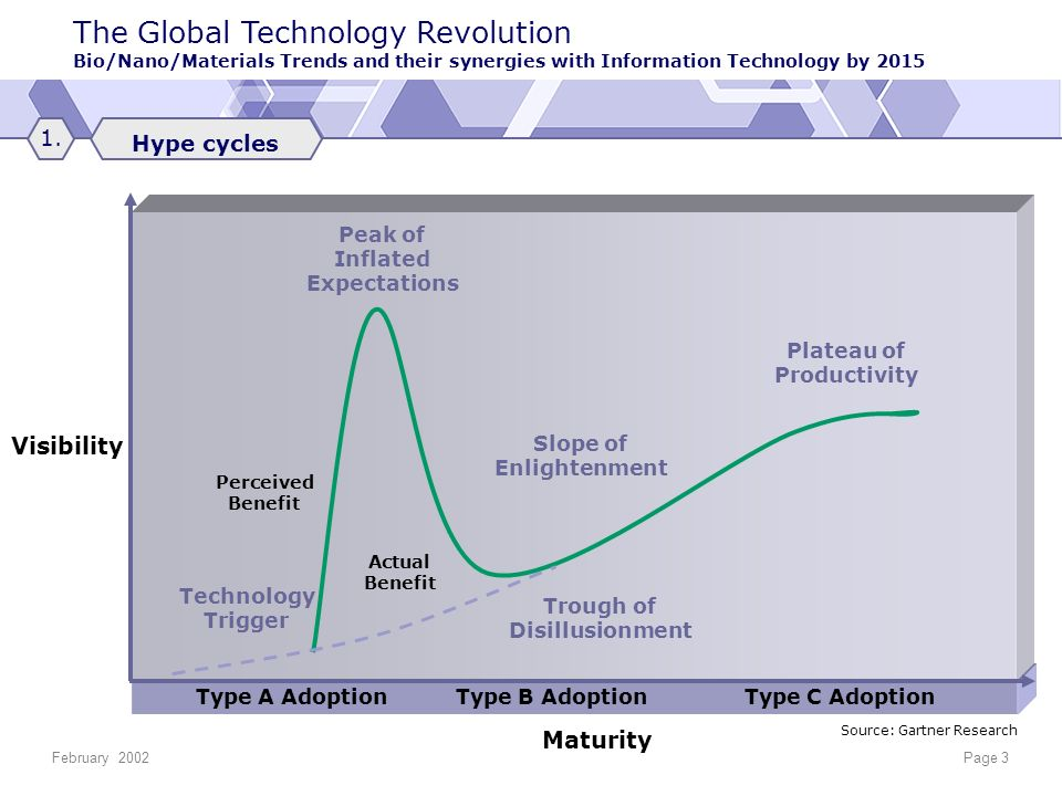 The Global Technology Revolution Bio/Nano/Materials Trends and their synergies with Information Technology by 2015 February 2002Page 3 Type A Adoption Type B Adoption Type C Adoption Visibility Maturity Peak of Inflated Expectations Slope of Enlightenment Actual Benefit Perceived Benefit Technology Trigger Trough of Disillusionment Plateau of Productivity Source: Gartner Research Hype cycles 1.