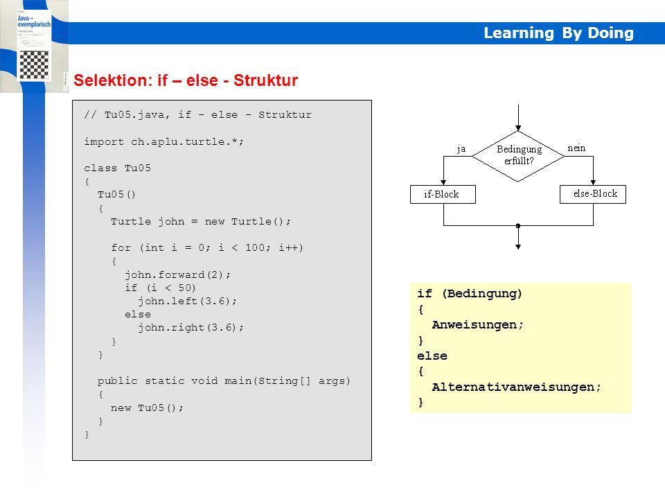 Learning By Doing Selektion: if – else - Struktur // Tu05.java, if - else - Struktur import ch.aplu.turtle.*; class Tu05 { Tu05() { Turtle john = new