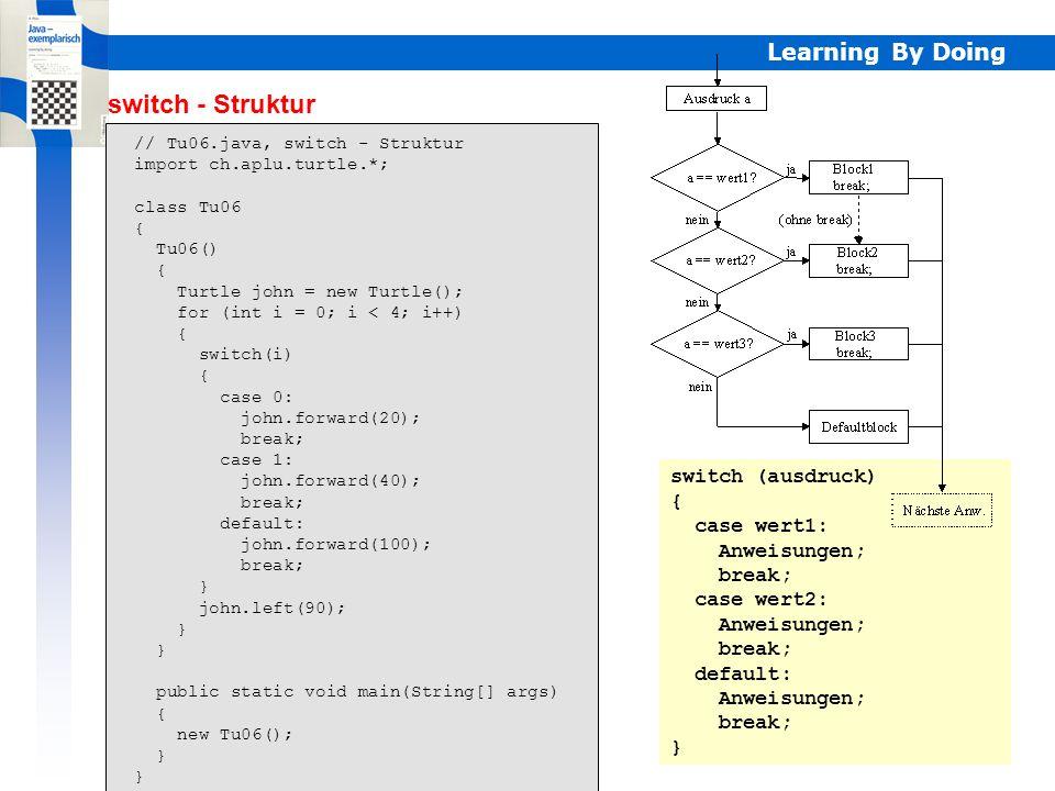 Learning By Doing switch - Struktur // Tu06.java, switch - Struktur import ch.aplu.turtle.*; class Tu06 { Tu06() { Turtle john = new Turtle(); for (in
