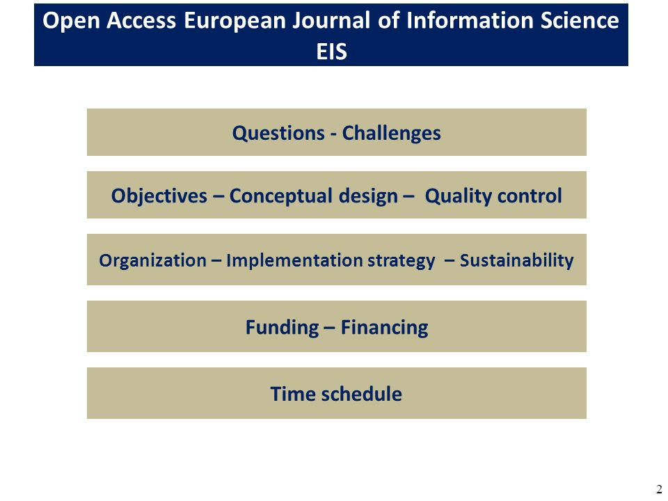 23 Organization The management of EIS will be handled by OAseas Open Access Science Editors and Authors Society