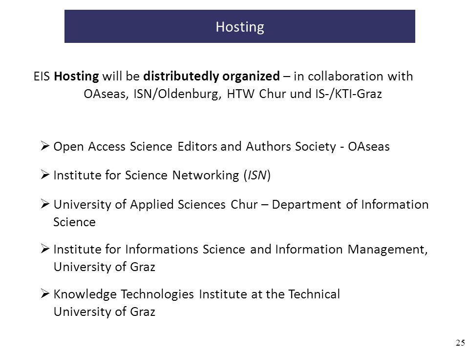 25 Hosting EIS Hosting will be distributedly organized – in collaboration with OAseas, ISN/Oldenburg, HTW Chur und IS-/KTI-Graz Knowledge Technologies