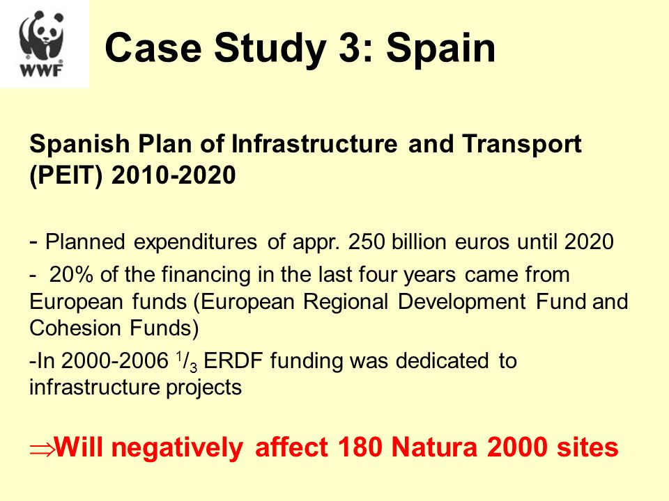 Spanish Plan of Infrastructure and Transport (PEIT) 2010-2020 - Planned expenditures of appr. 250 billion euros until 2020 - 20% of the financing in t
