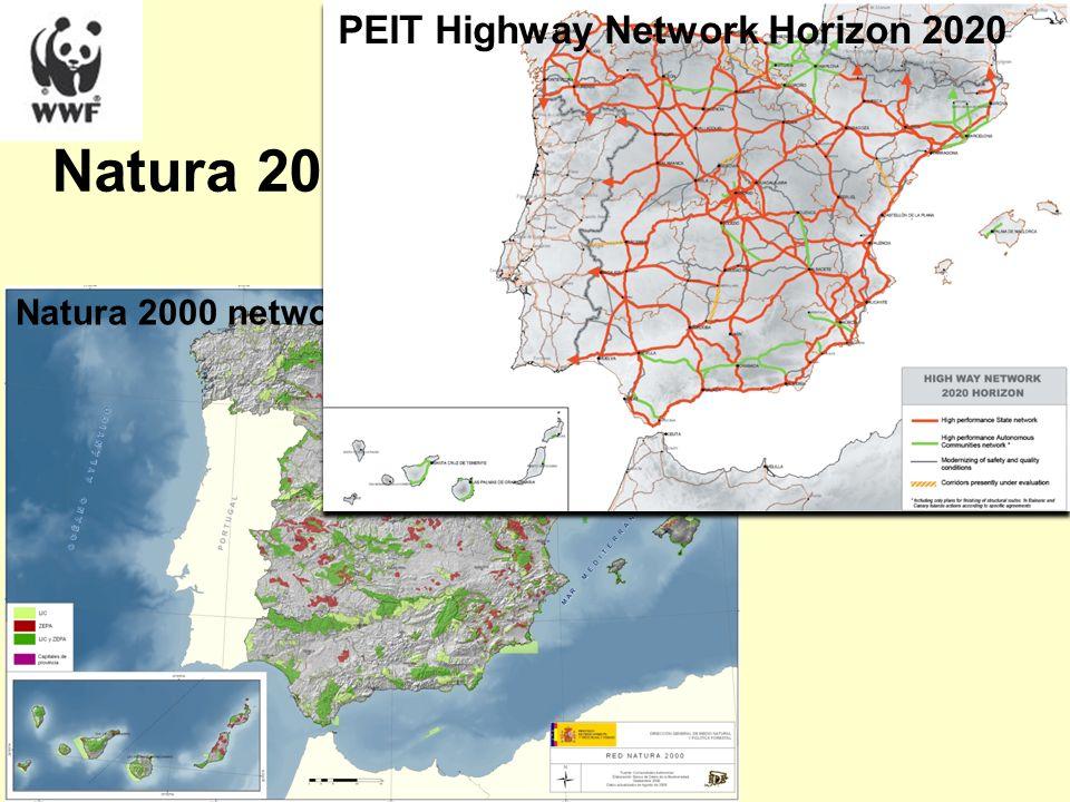 Natura 2000 Infrastructure planning Natura 2000 network in Spain PEIT Highway Network Horizon 2020